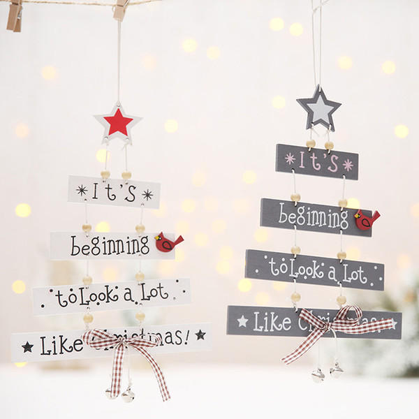 Contemporary Christmas Tree.Christmas Wooden Hangings Door Decor Christmas Tree Shape Letter Plate Sign For Santa Xmas Window Hanging Commercial Christmas Decorations
