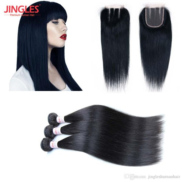 100% Remy Human Hair Bundles with 4x4 Bleached Knots lace Closure Peruvian Virgin human Hair Straight Bundles with top lace closure cheap