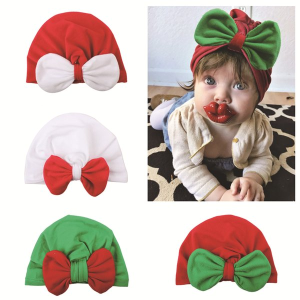 New christmas baby hat boy girl bow children's knitted hats fashion European and American newborn baby cute cap