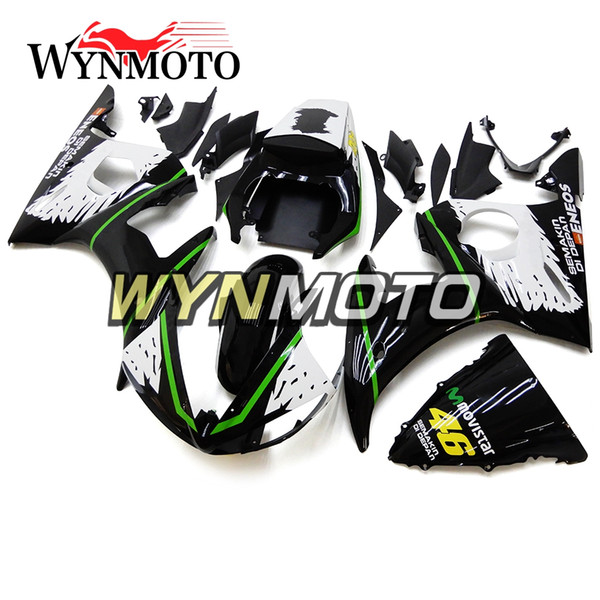 Moto Green Black White 2003-2004 R6 Injection Full Carene ABS per Yamaha YZF600 R6 YZF-600 R6 / R6S '06 -09 2003 2004 Carrozzeria ABS