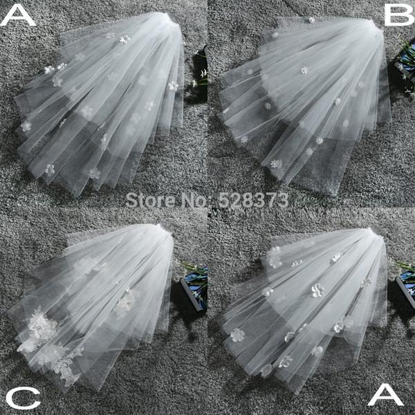 vendita all'ingrosso WV8 con pettine doppio strato di tulle handmade gomito lunghezza Birdcage veli da sposa breve velo da sposa 2019