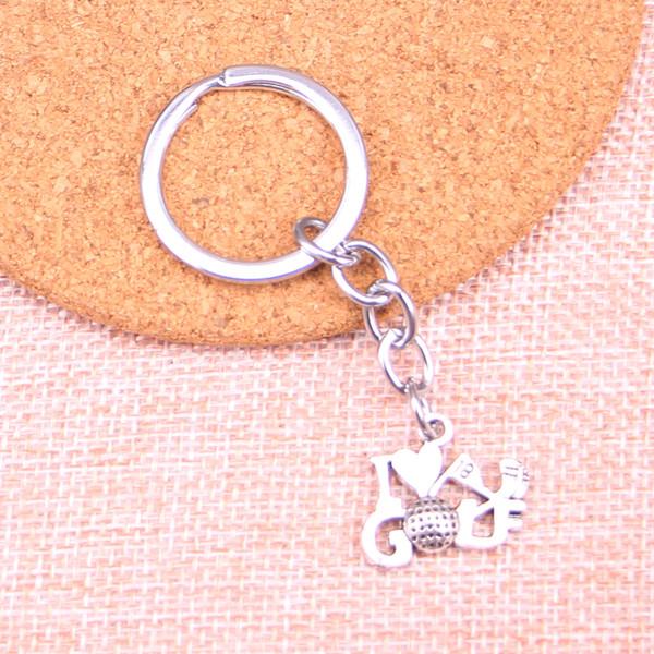 Neue Mode 17 * 22mm Ich liebe Golf KeyChain, neue Mode handgefertigte Metall Schlüsselbund Party Geschenk