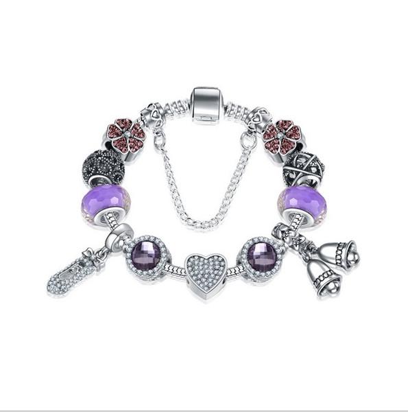 Fashion Purple 925 Sterling Silver Purple Murano Glass Lampwork European Charm Bead Shoes Dangle Fits Pandora Charm Bracelets Necklace