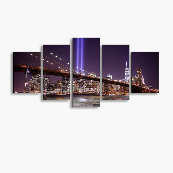 5 pieces high-definition print Bridge canvas oil painting poster and wall art living room picture PF5-240