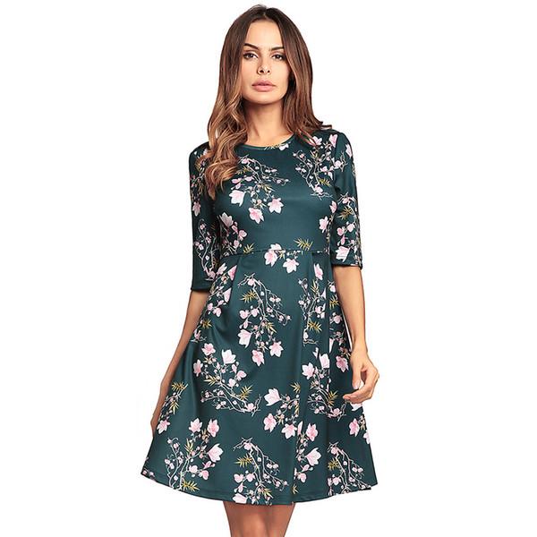 Women Floral Print Dress Casual 2018 Summer Elegant High Waist Half Sleeve Ladies Evening Evening Party Holiday Aline Clothing