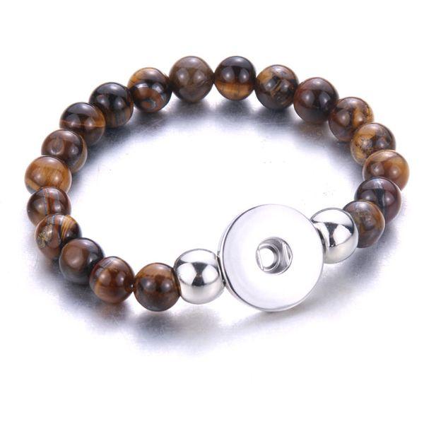 Neue 10 teile / los Perlen Schnellarmband Perlen Armband Fit 18mm 20mm Druckknöpfe Schmuck für Frauen Männer Paar Armbänder