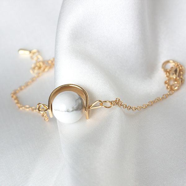 Бесплатная доставка Япония и Южная Корея дизайн ретро передачи бисера браслет натуральный камень мрамор круглый шарик женский минимальные украшения руки
