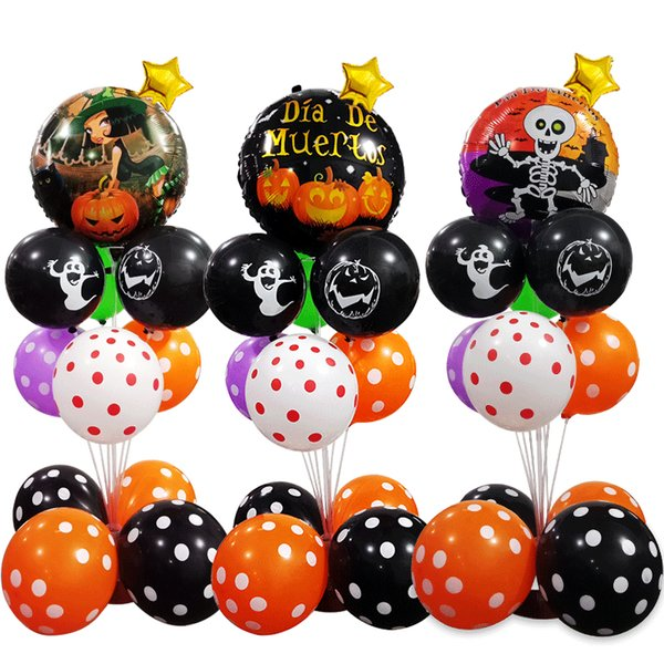 Promotion Pumpkin Girl Foil Balloons set Column For Halloween Party Balloons set 10inch Round Printed Latex Wave Balloons