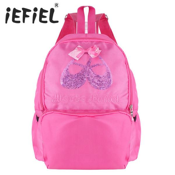 iEFiEL Cute Students School Backpack Ballet Dance Bag Sequins Toe Shoes Embroidered Ballerina Shoulder Kids Ballet Dance Bag
