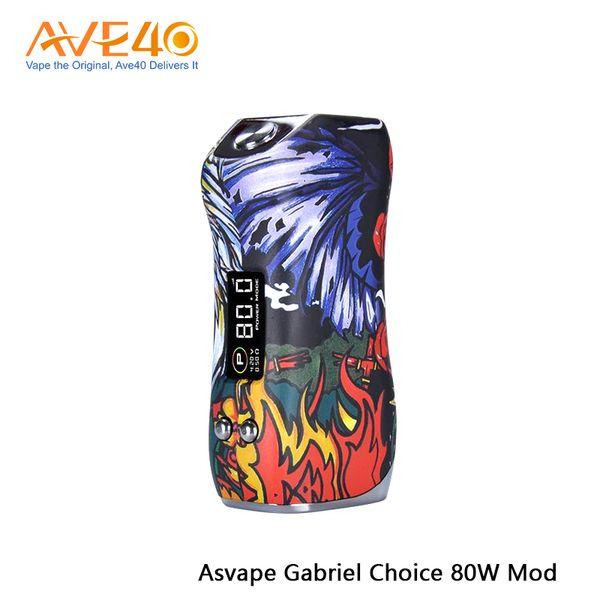 Authentique Asvape Michael 200 W TC Box Mod Devils Mise à jour de nuit Asvape Gabriel Choix 80 W Box Mod Alimentée par une seule batterie 18650