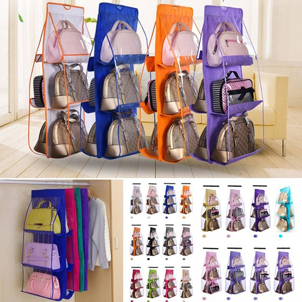 6 poche sac à main organisateur pour armoire penderie sac de rangement transparent porte mur clair divers sac à chaussures avec pochette