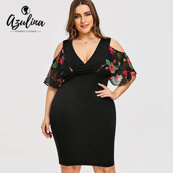 AZULINA Plus Size Rose Print Cold Shoulder Dress Women Clothing Summer V Neck Half Sleeves Bodycon Dresses Party Dress Vestidos D1891703