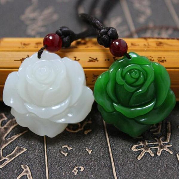 Certificat Naturel Vert Jade Rose En Cuir / Perles Collier Pendentif Corde Chanceux Amulette Bijoux Cadeau De Pierres Précieuses avec Boîte