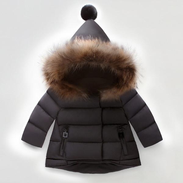 Mädchen Winter Jacken Kinder Fell Kapuze Daunen Parkas Mantel Kinder Mädchen Dicke Warme Outwear Schneeanzug Kleidung Daunen Parkas