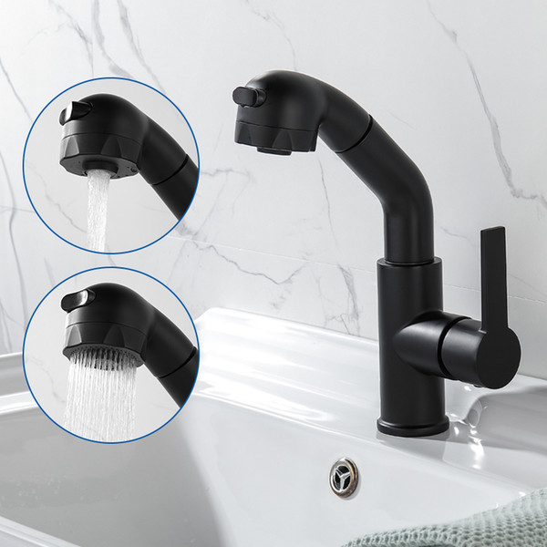 High Quality Black Pull Out Kitchen Bathroom Basin Faucet Deck Mounted 360 degree Rotate Water Mixer Tap Free Shipping