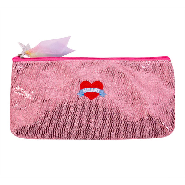 Bolso de la pluma de las lentejuelas del estudiante de la muchacha de la moda Bolsos cosméticos Bolsas del organizador del maquillaje Shinny del viaje