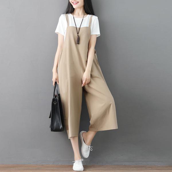 Women Jumpsuit Cotton Linen Solid Plus Size Spaghetti Straps Ladies Casual Loose Sleeveless Vintage Wide Leg Harem Pants Rompe
