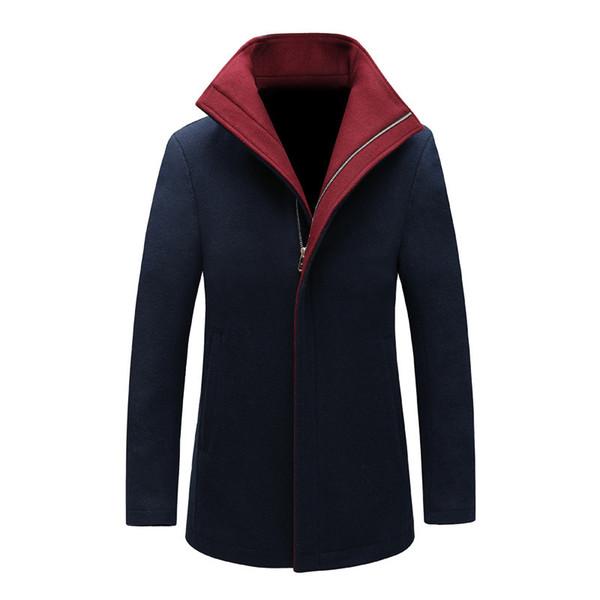 trench coat men long steampunk overcoat plus size 2018 fall winter jacket casual slim cotton windbreaker dust black wool blends