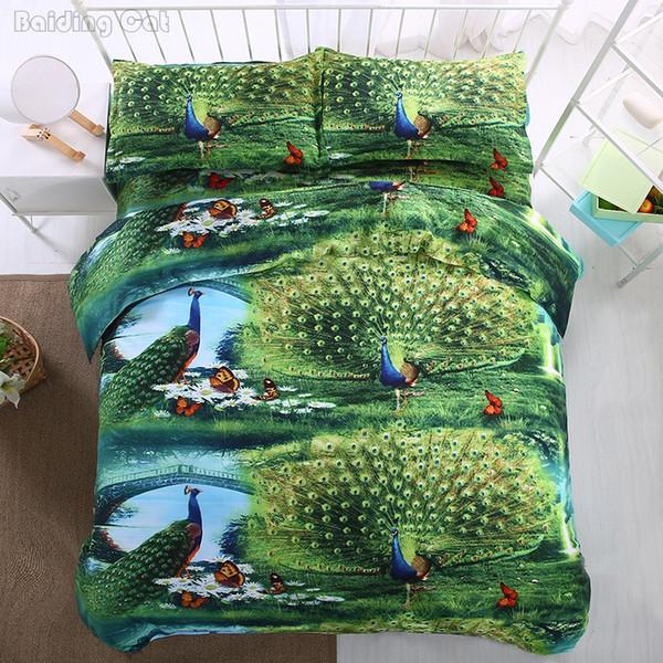 Hot Sale 3d Green Peacock Bedding Set 4pcs Adult Kids Bed Linen Duvet Cover Set with Flat Sheet Pillowcases Twin Queen King Size