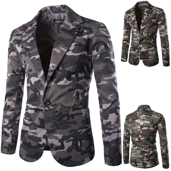 2018 Fashion Men's Autumn Winter Coats Cardigan Camouflage Jacket Long Sleeve Cotton Blend Turn-Down Collar Coat Top Size M-XXL