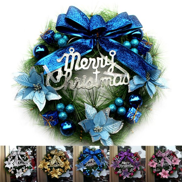30CM Christmas Wreath Door Curtain Hanging Ornaments Xmas Flower Props For Christmas Tree Party Home Deco