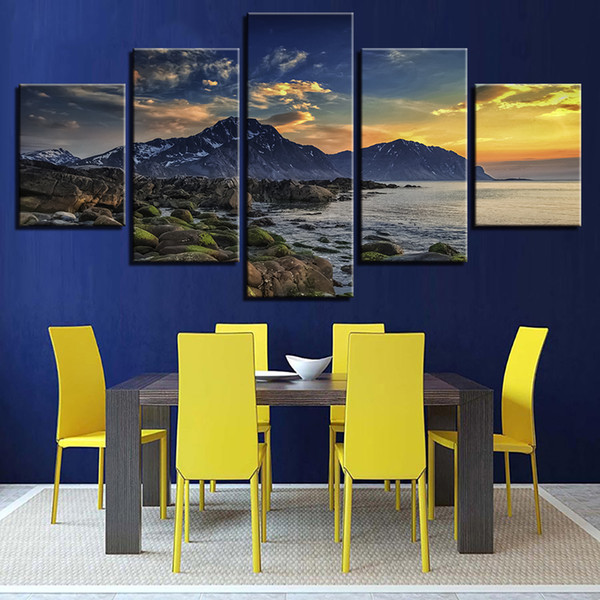 Pictures Living Room Decor 5 Pieces Mountain Sea Sunset Scenery Paintings Home Wall Art Poster Framework Modular Canvas Printing