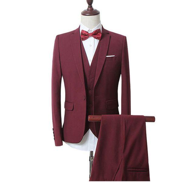 2018 Men Suits Burgundy Wine Red Notched Lapel Business Tuxedo Wedding Suits Groom Slim Fit Formal Prom Blazer Best Man Evening Dress 3Piece