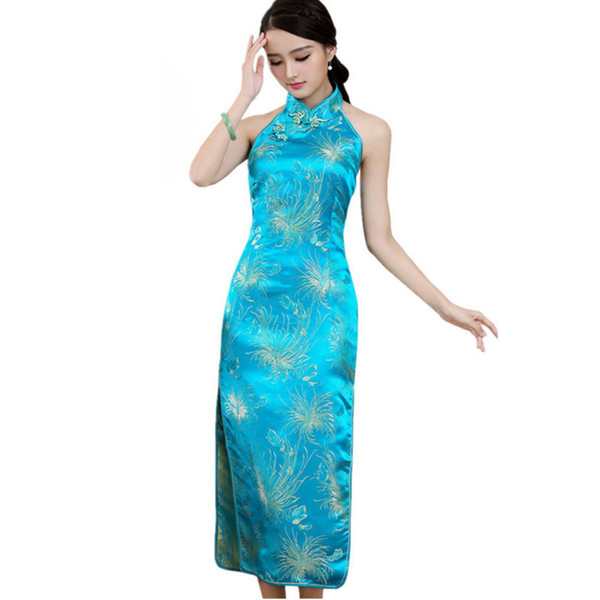 best selling Chinese National Long Cheongsam Plus Size Satin Vintage Halter Backless Qipao Tang Suit Socialite Elegant Women Dresses