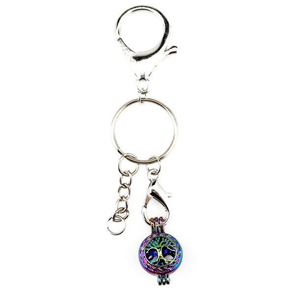 Key Chains Keychain Silver Plated Key Ring Clasp with Tree Beads Cage Locket Y23 Fun Gift