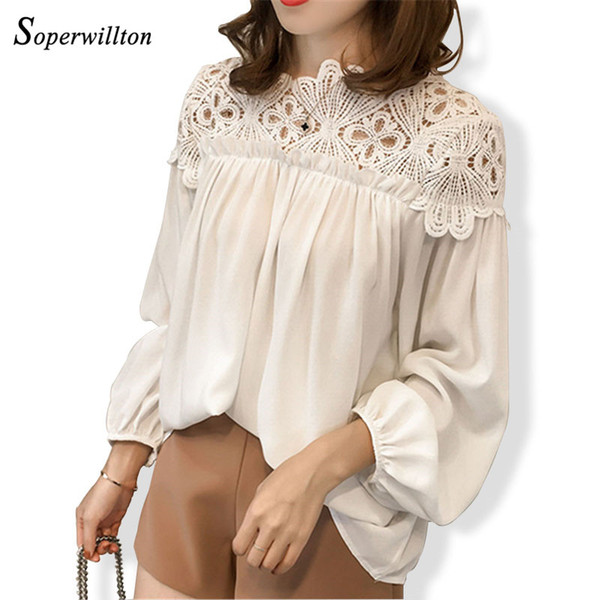 1f14abe04ba 2018 New Long Sleeve Chiffon Blouse Women Shirts hollow out Sexy Lace  Blouses For Women Plus