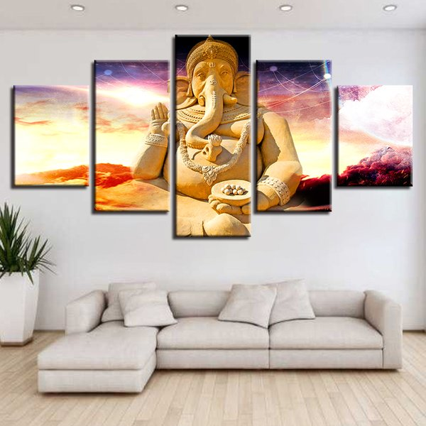 Wall Art Framework Canvas Poster Home Decor 5 Pieces Elephant Trunk God Ganesha Paintings Modular HD Prints Pictures Living Room
