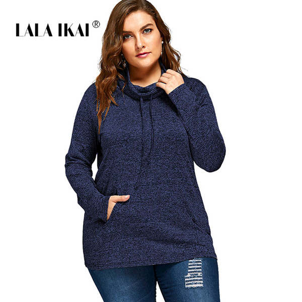 LALAIKAI Plus Size XL 2XL 3XL 4XL 5XL Pure Color Casual Tshirt Women Pocket Full Sleeve Tee Loose Hooded Tops Ladies SWA1532-47