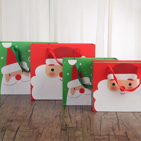 10pcs Paper Gift Bag Cartoon Santa Claus Snowman Printed Candy Chocolate Paper Bag Merry Christmas Gift Bags Party Packaging #30