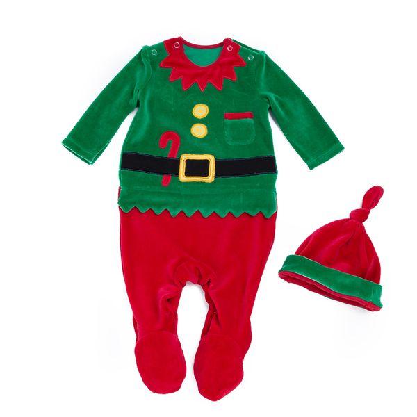Noel bebek Tulum Uzun Kollu Noel Baba Yenidoğan Bebek Bodysuit Şapka Bebek tulum