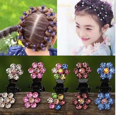 M MISME 12pcs / pack Cristal Strass Fleur Cheveux Griffes Épingles À Cheveux Accessoires Pour Cheveux Ornements Cheveux Clips Hairgrip pour Enfants Fille