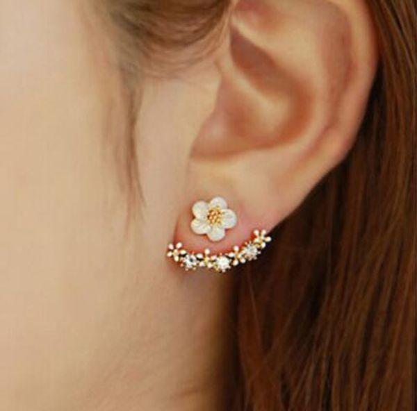 best selling Hot Ear Jackets Earings Women Jewelry Gift Fashion Flower Crystal Earrings Gold Back Cuff Stud Earrings