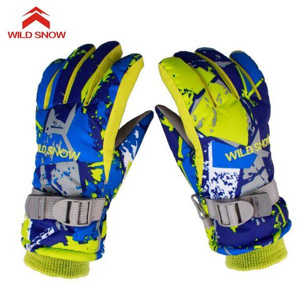 WILD SNOW Children Winter Warm Skiing Gloves Boys/Girls Sports Waterproof Windproof Non-slip Snow Mittens Extended Wrist ,K-033