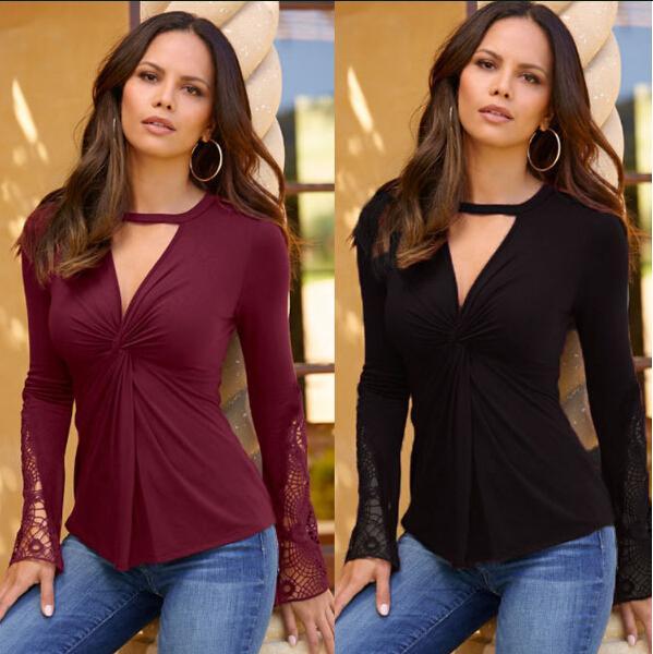 Frühling neue Frauen Cothing Bluse sexy V Spitze langärmelige Pullover T-Shirt für Frauen