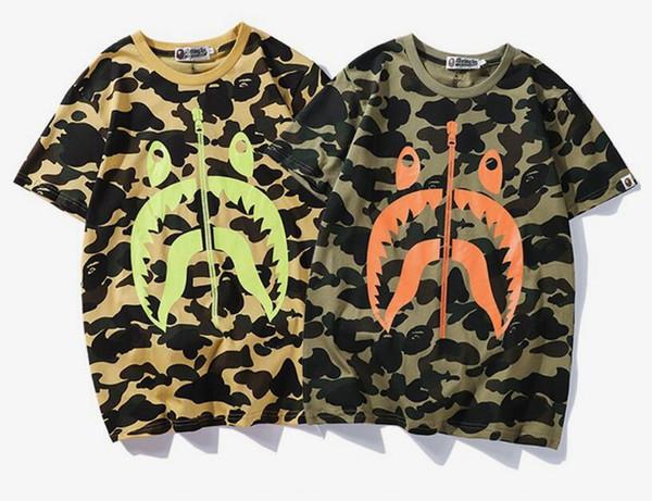 Летняя мода Высокая версия Tide Совершенно новая молодежная футболка с камуфляжным принтом Джастин Бибер мужской хип-хоп досуг шею с коротким рукавом