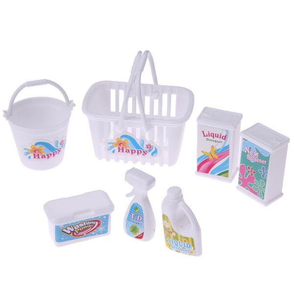 7 unids / set Accesorios de Muñeca Niños Juego de Rol Juguetes Limpieza Doméstica De Plástico Herramienta Limpia Barril Niños Niñas Pretenden Jugar Juguetes