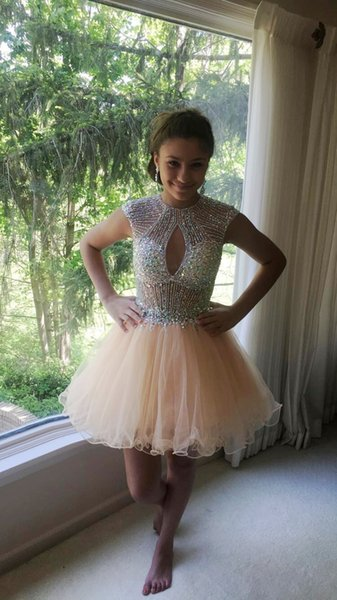 Gorgeous Sparkly Sequins Beading Rhinestones Short A Line Cocktail Party Homecoming Dresses Cap Sleeves Open Backless Sexy Prom Gowns