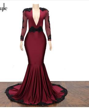 Кружевные аппликации SoAyle Платья для выпускного с русалкой Глубокий V-образный вырез с открытыми спинами Бордовые платья 2018 vestido de noiva Longo abiye Long H