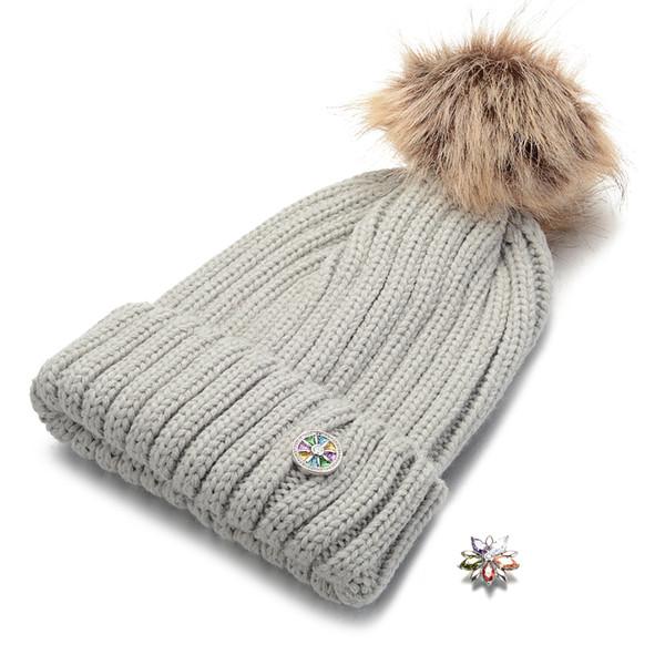 Ginger snap jóias chapéu fit para 18mm botões de pressão chapéus de inverno para as mulheres quentes beanie gorros skullies nn-701