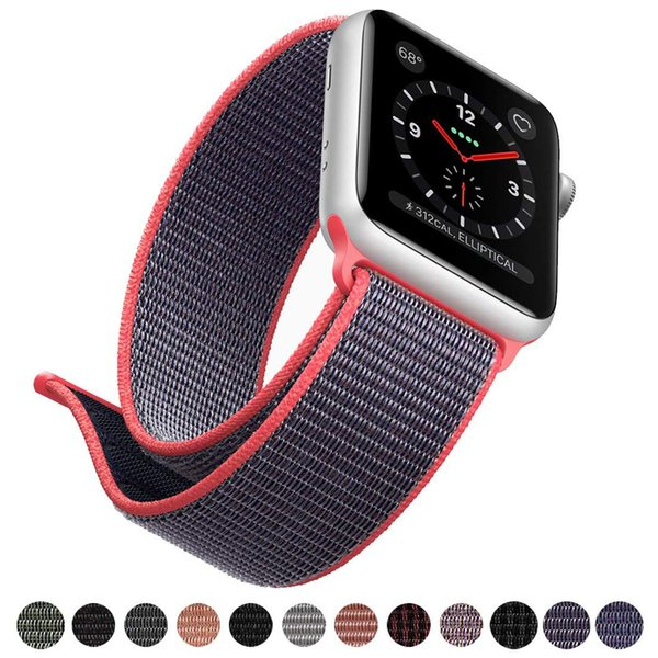 Apple Watch Strap Series 4 3 2 1 Sport Loop Band 38mm 40mm 42mm 44mm Lightweight Breathable Nylon Replacement Apple Watch band