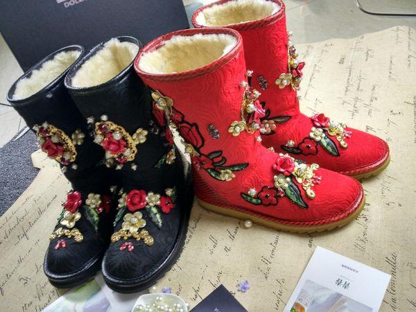 2018 estilo europeu e americano do vintage de luxo lantejoulas bordar flor meia botas modelo show de lã quente senhora botas de neve