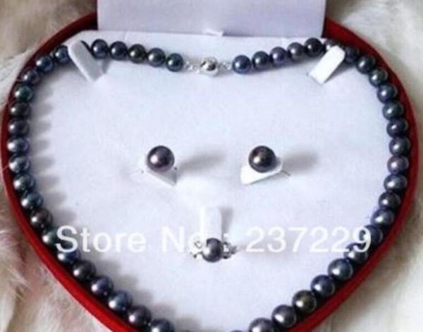 Preço de atacado FRETE GRÁTIS ^^^^ Conjunto de Moda Black Freshwater Pearl Necklace Brinco Anel