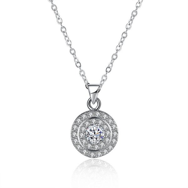 Sterling Silver 925 Necklace Lady Zircon Jewelry Pure Silver Three Circle Pendant Necklace Free Shipping n116