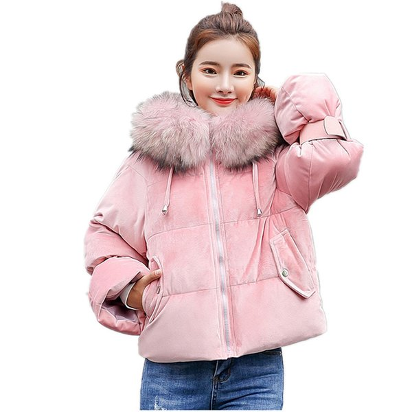 Warm Hooded Fur Collar Cotton Short Parka Plus Size Women Winter Coat Jacket 2018 Clothing for Mujer Feminine De Inverno Casaco S18101203