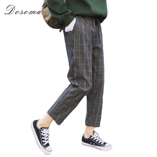 Acheter Dosoma Pantalon à Carreaux Style Anglais Femme Gris Pantalon Droit Taille élastique Pantalon Ample Coupe Courte Femme à La Cheville De 1905