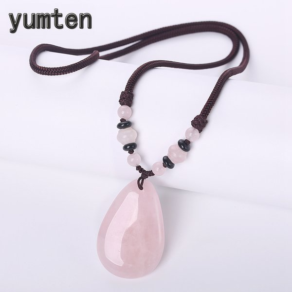 Yumten Pink Crystal Necklace Power Gemstone Chain Hyperbole Women Jewelry Engagement Ornaments Water Drop Stonetransparent Beads